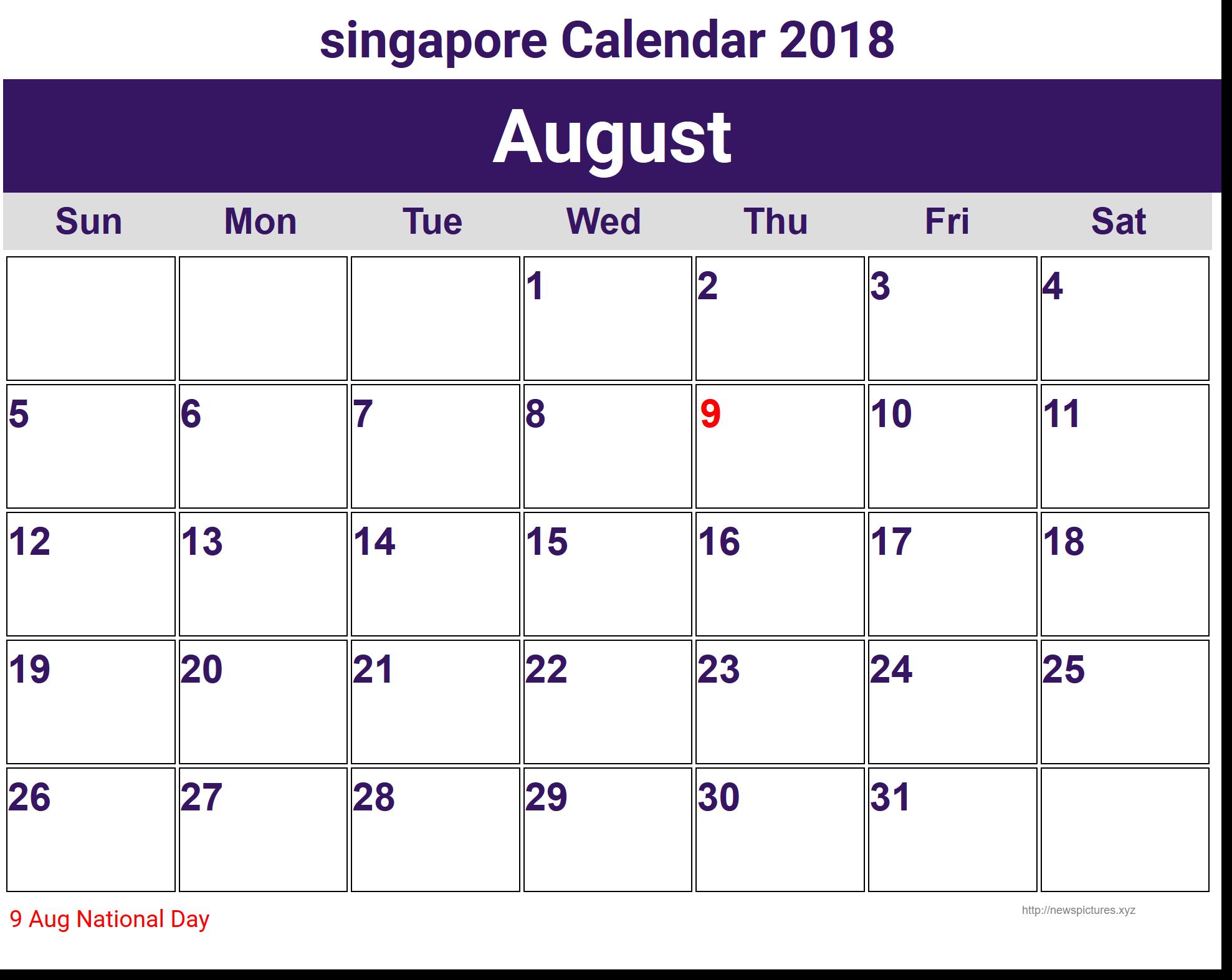 2018 August Calendar Singapore