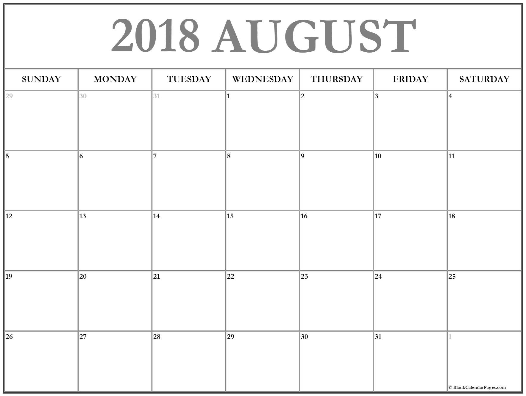 2018 August Calendar South Africa