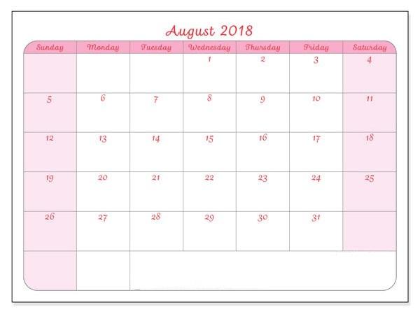 2018 August Calendar Word