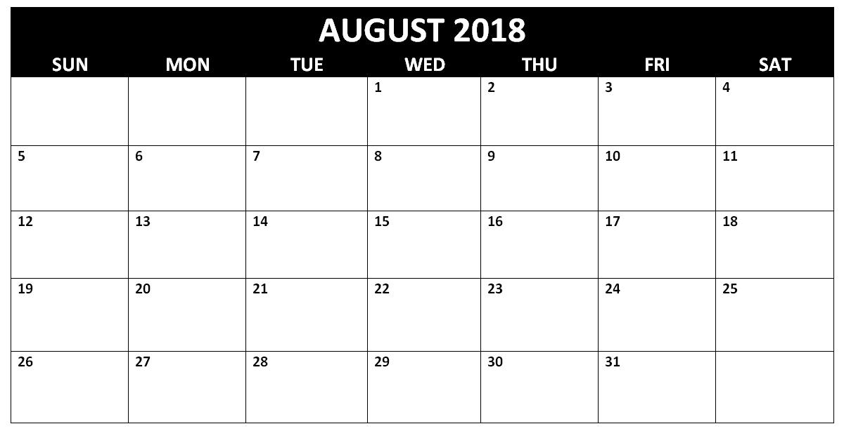 August 2018 Blank Calendar Printable