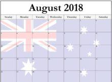 August 2018 Calendar Australia Flag