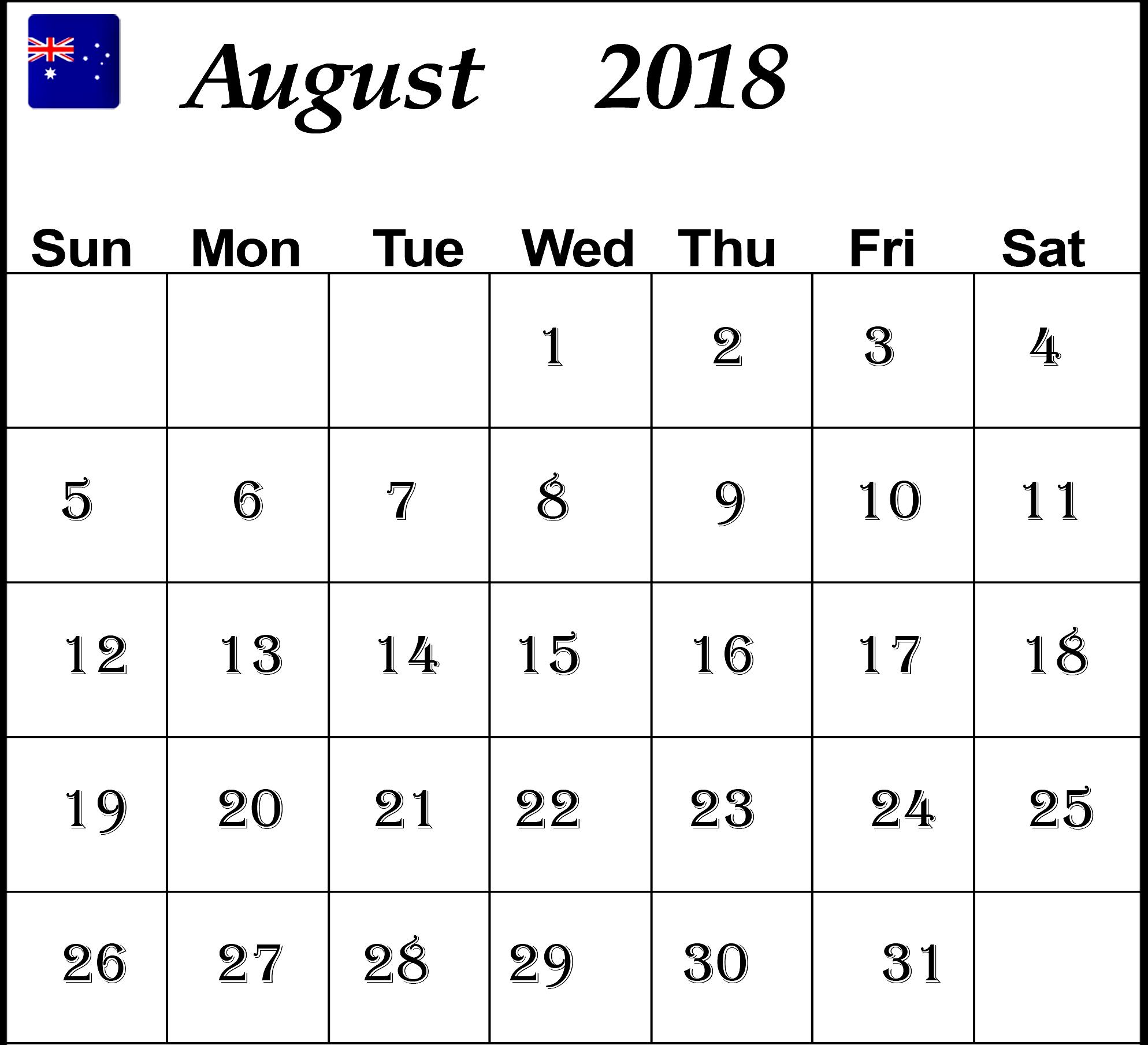 August 2018 Calendar Australia Printable