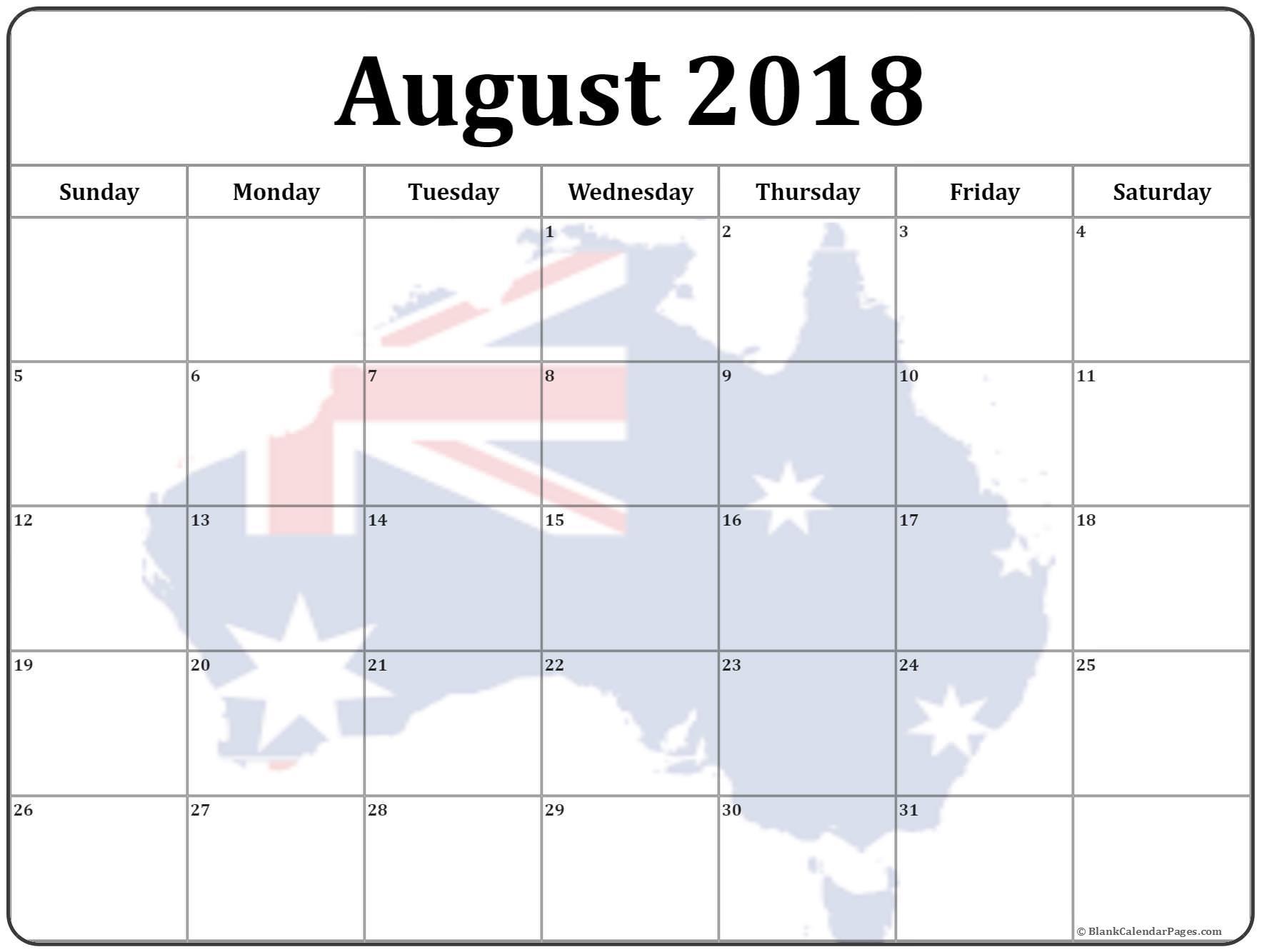 August 2018 Calendar Australia With Holidays