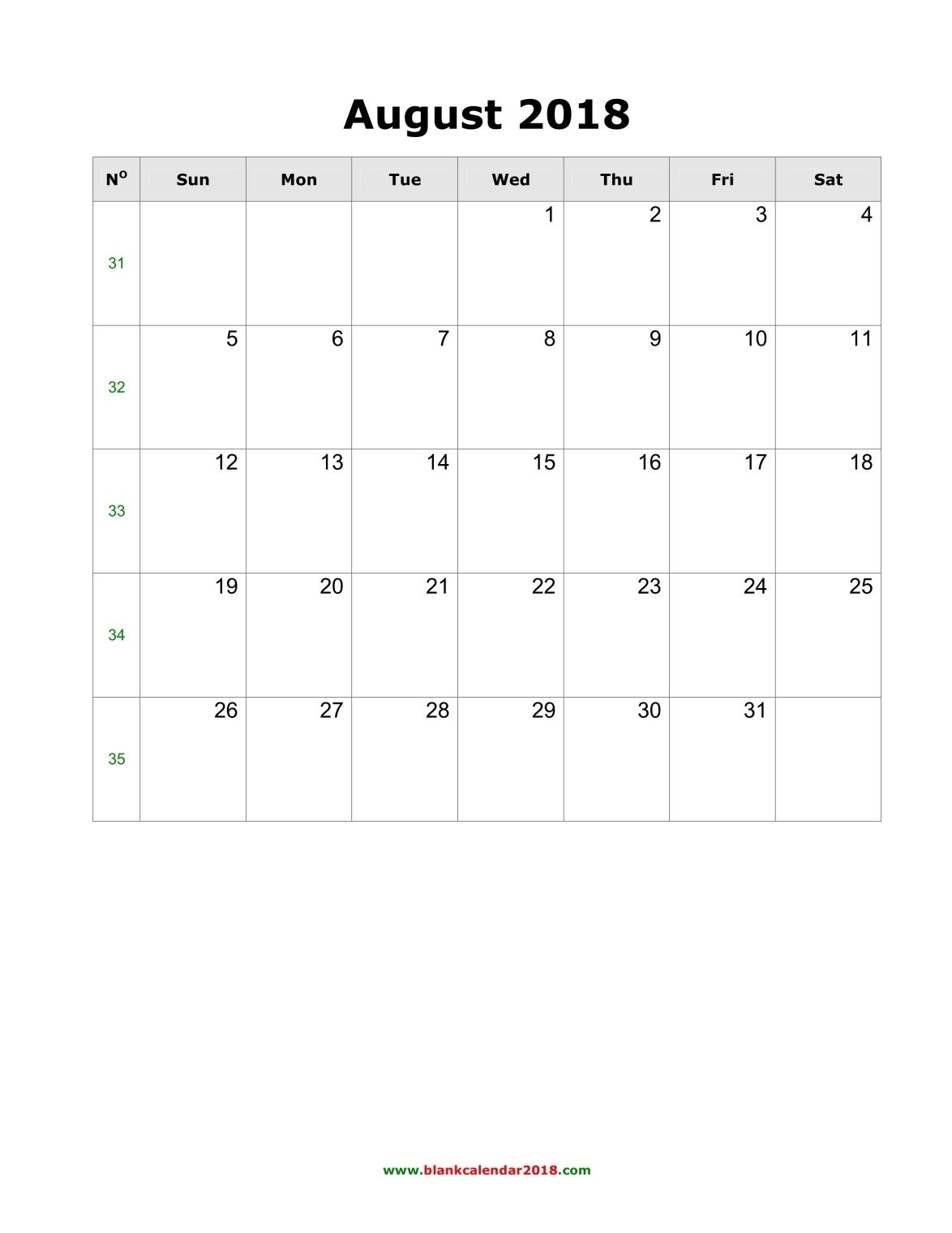 August 2018 Calendar Blank Portrait