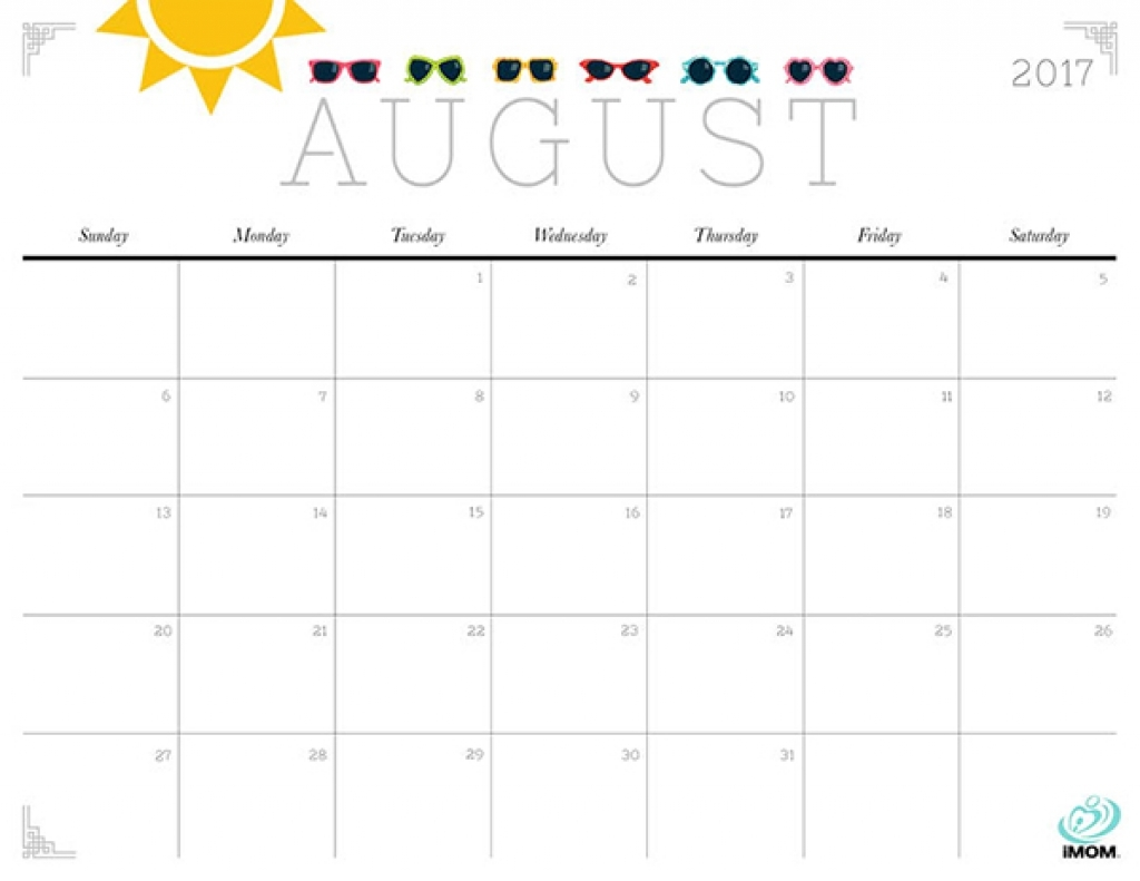 August 2018 Calendar Cute Printable Template With Holidays Pdf
