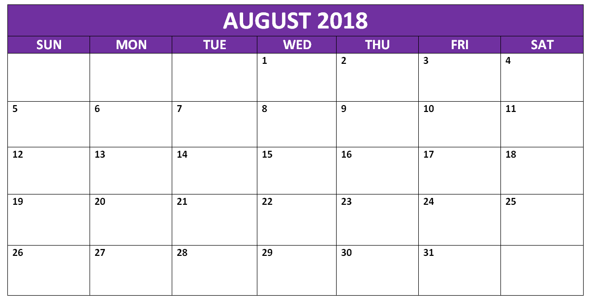 August 2018 Calendar Document Full Weekday