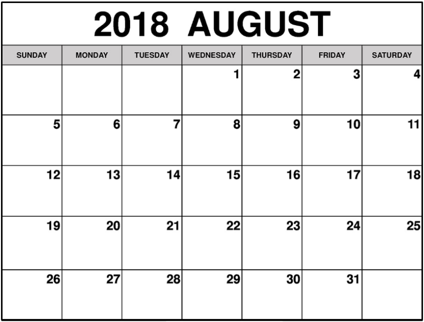 August 2018 Calendar Document Planner
