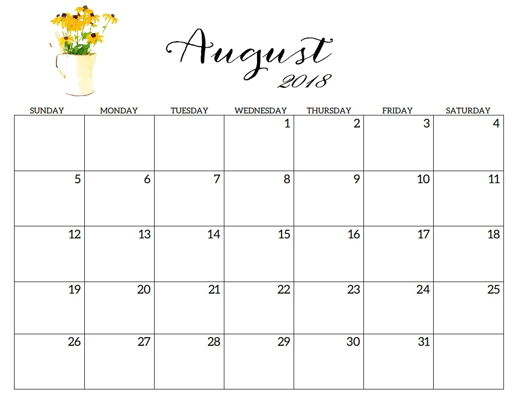 August 2018 Calendar Document to Print