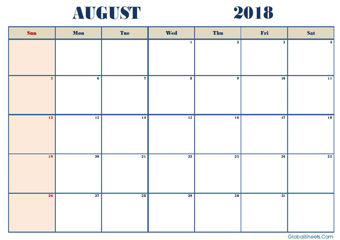 August 2018 Calendar Excel Free