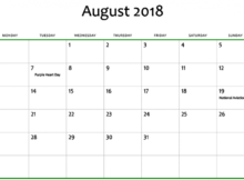 August 2018 Calendar Excel Printable