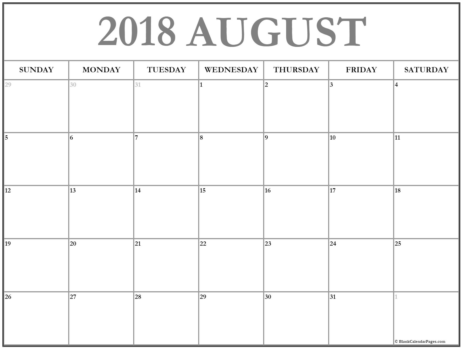 August 2018 Calendar Excel Worksheet