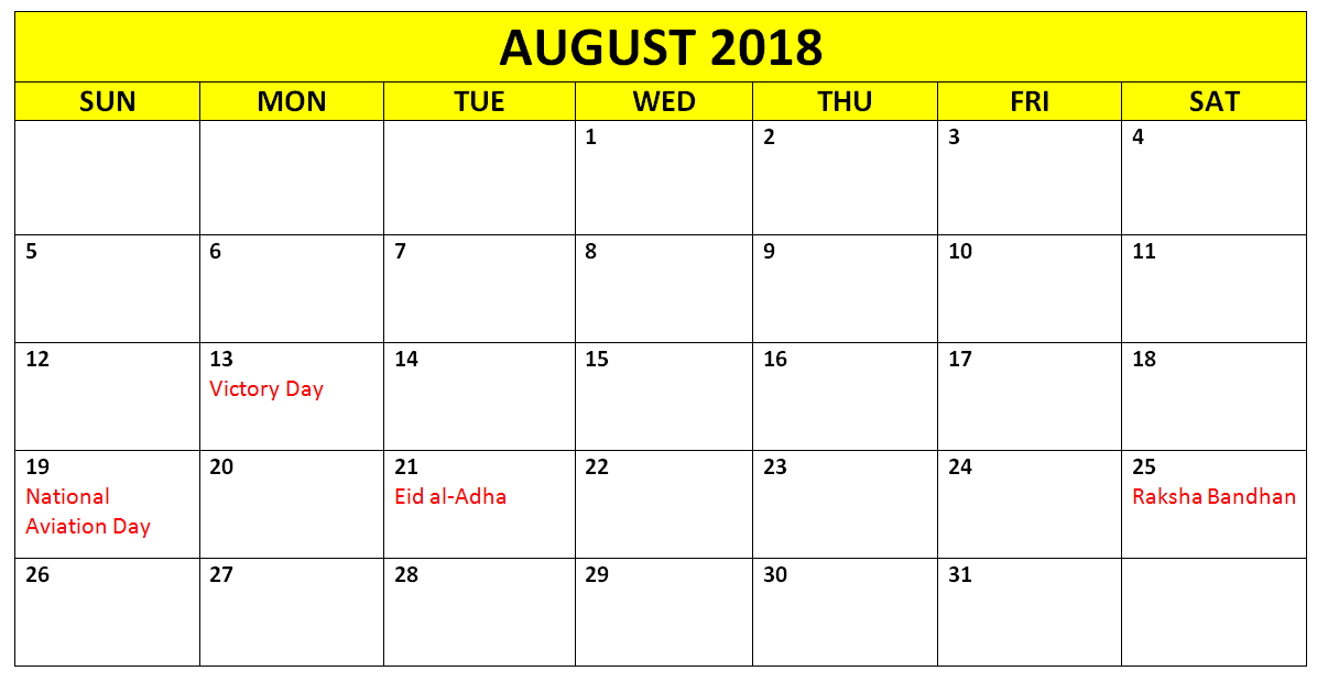 August 2018 Calendar France With Holidays