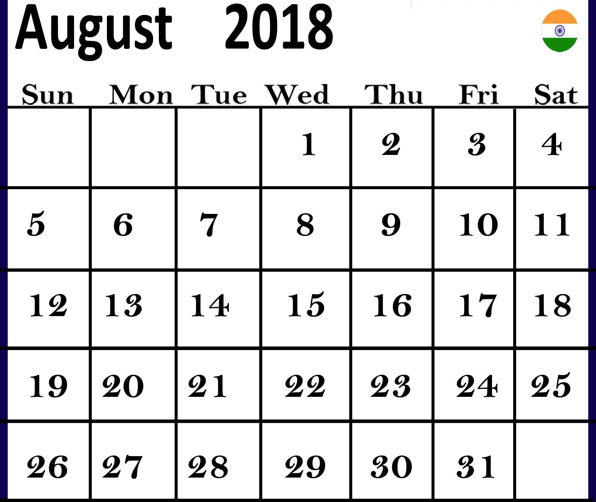 August 2018 Calendar India Holidays