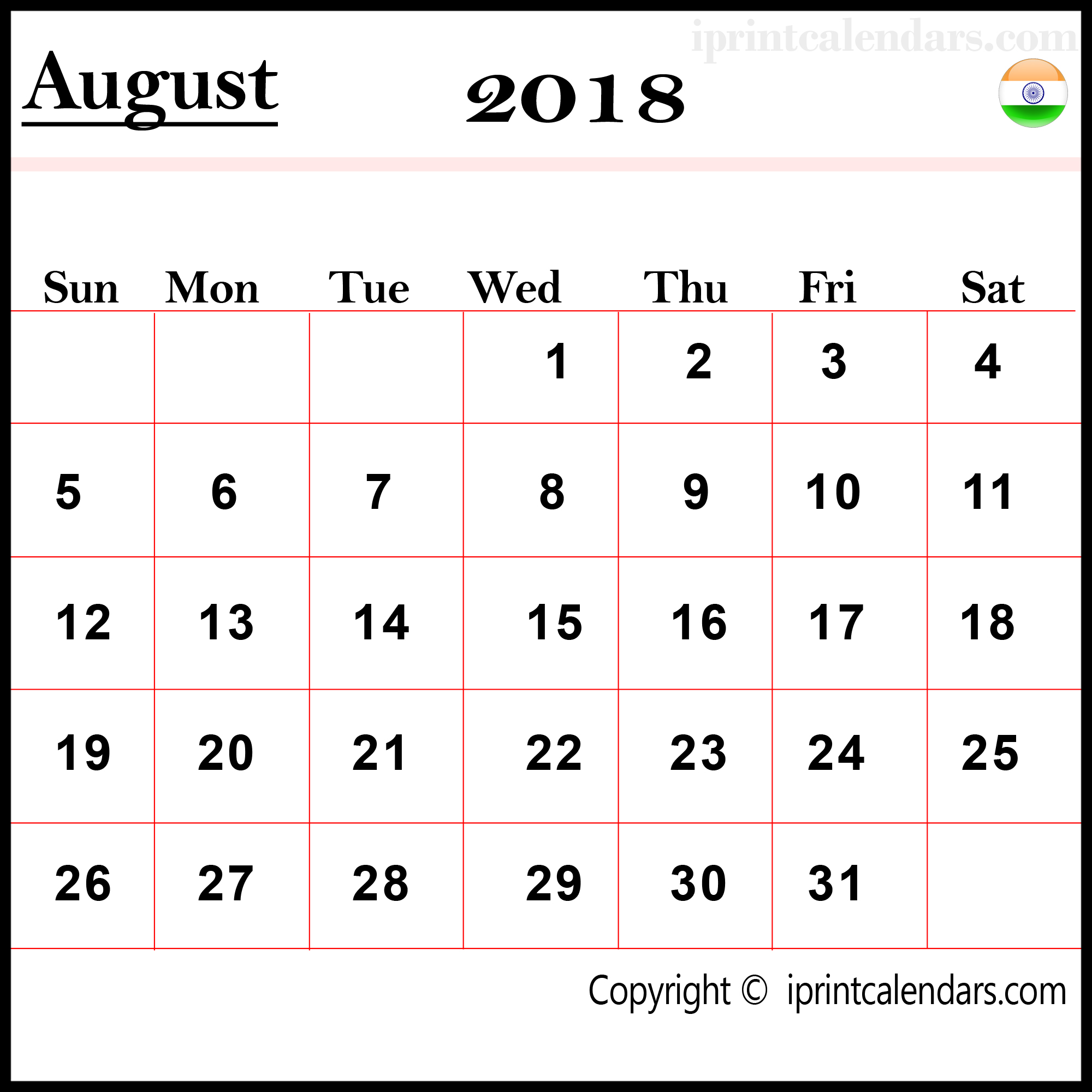August 2018 Calendar India