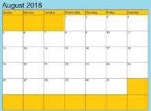 August 2018 Calendar NZ Printable