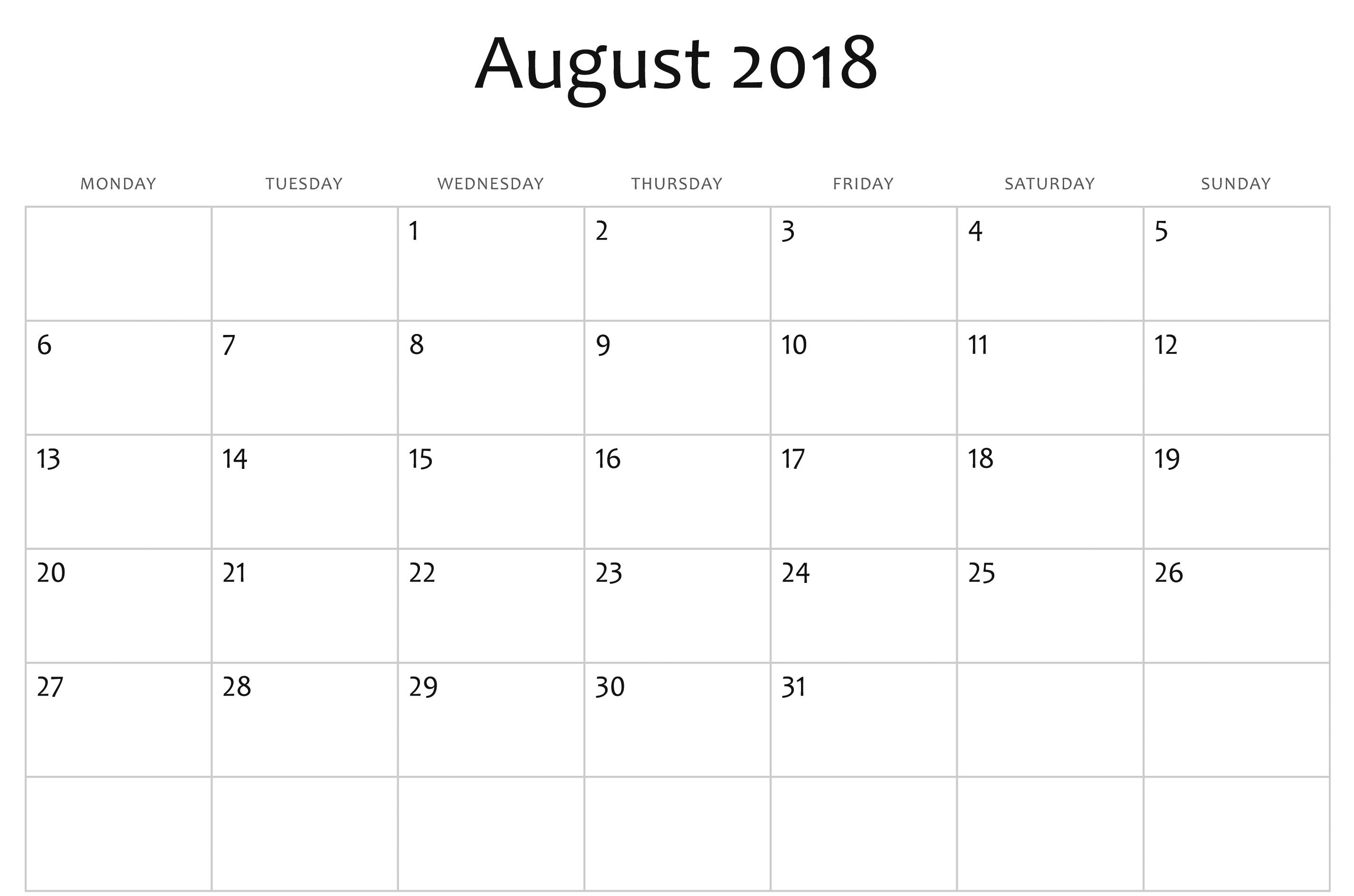 August 2018 Calendar New Zealand