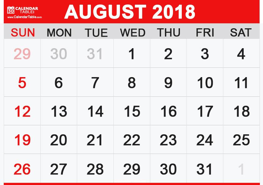 August 2018 Calendar Page Blank Sheet