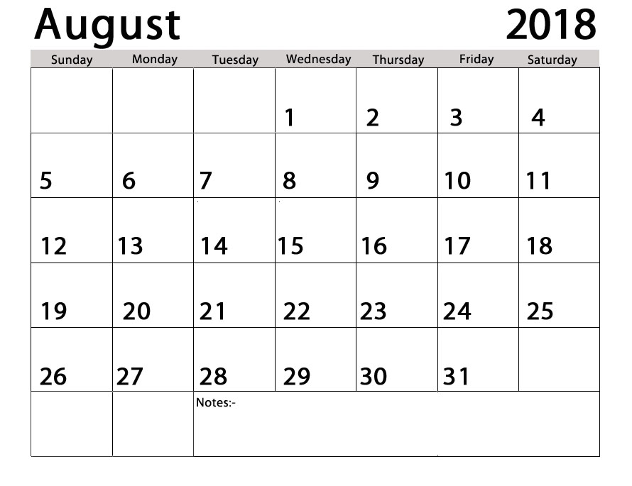 August 2018 Calendar Page
