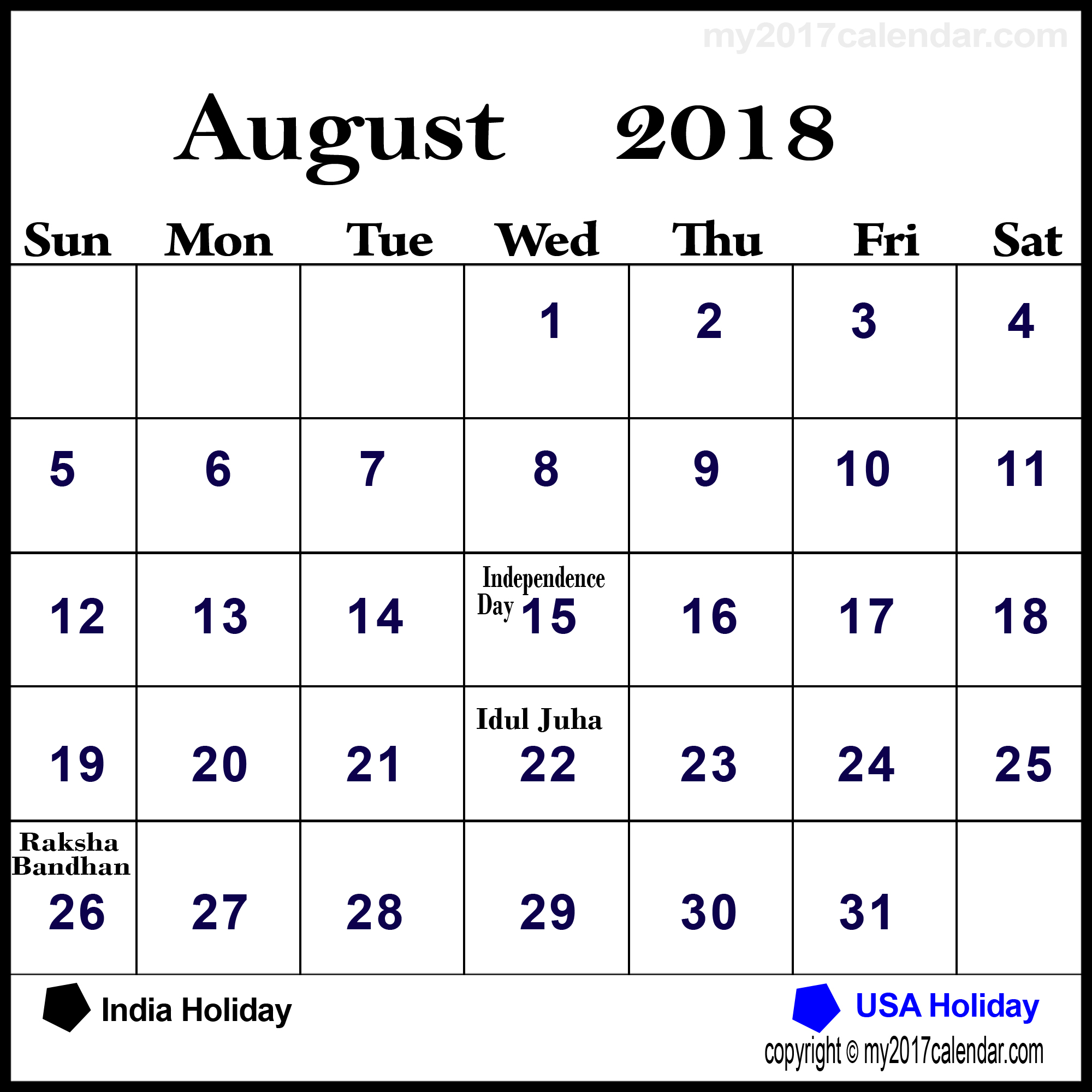 August 2018 Calendar Philippines with Holidays