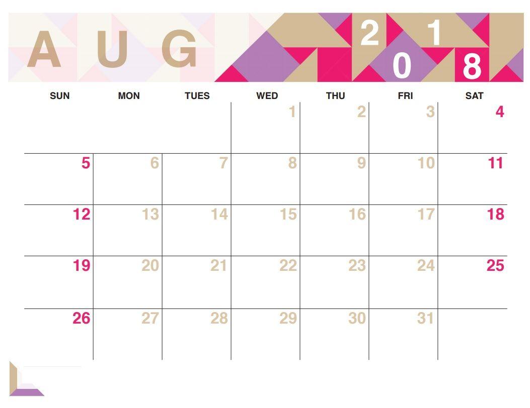 August 2018 Calendar Pink