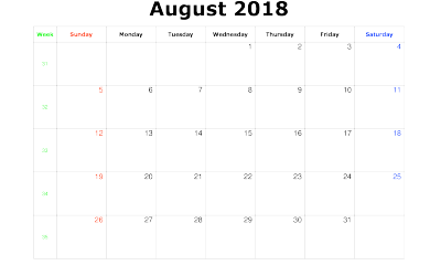 August 2018 Calendar Png Landscape