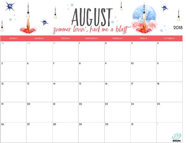 August 2018 Calendar Printable Free