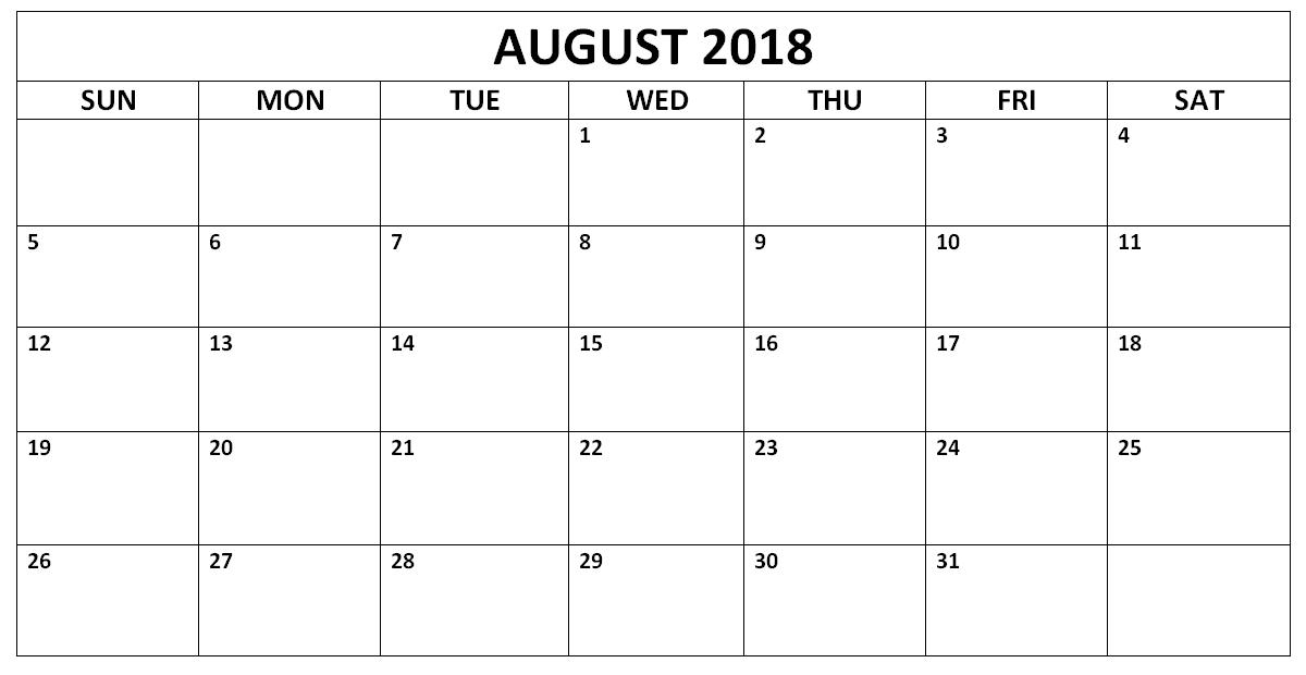 August 2018 Calendar Printable Landscape