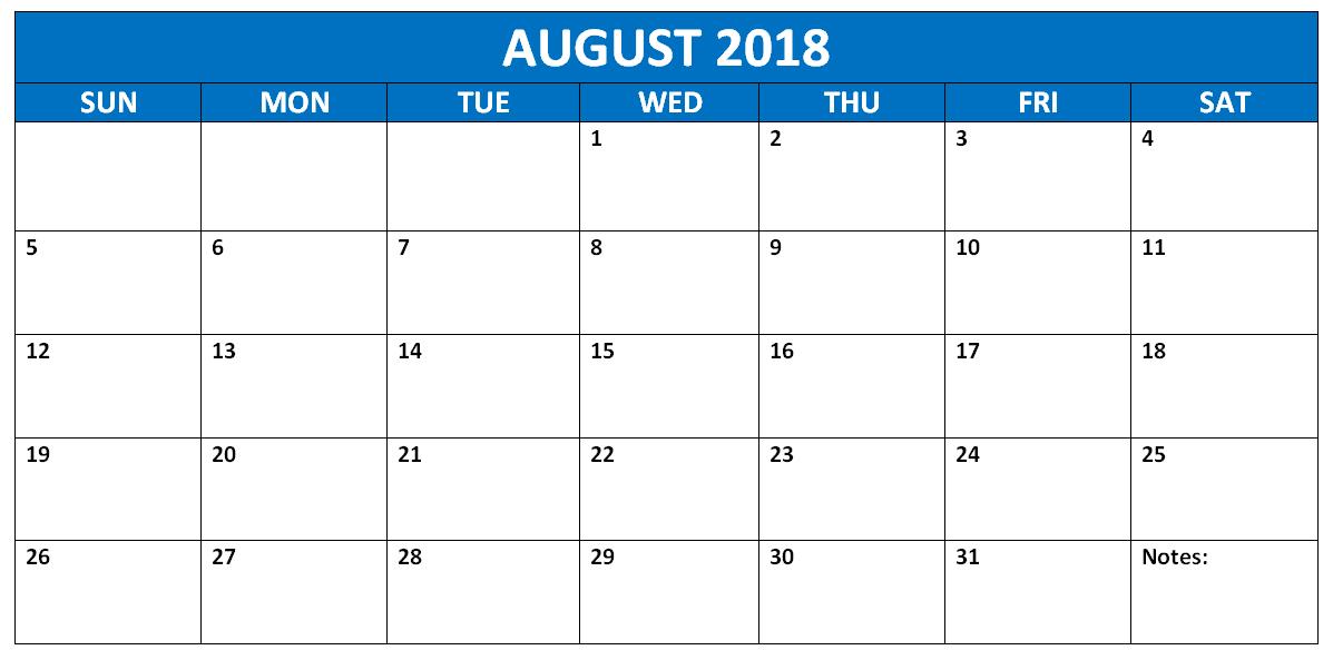 August 2018 Calendar Printable Planner