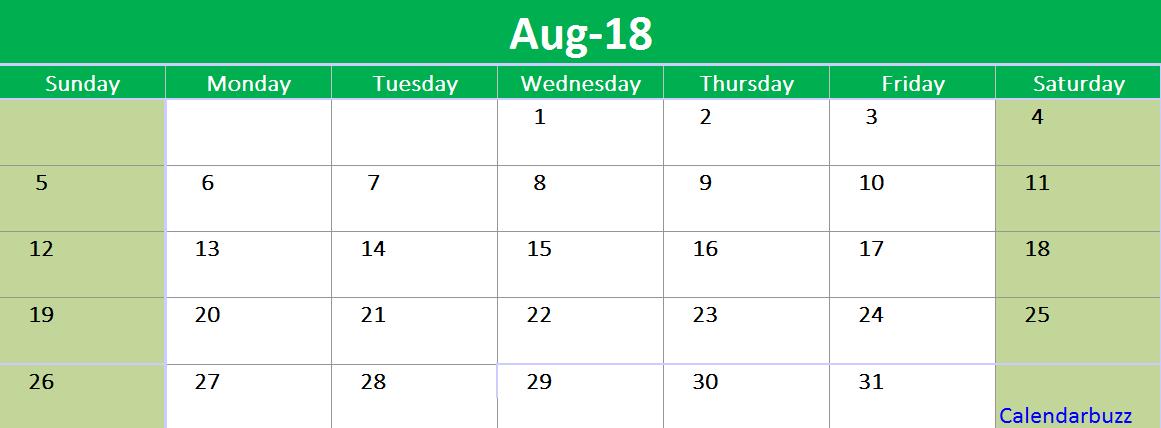 August 2018 Calendar Printable Template