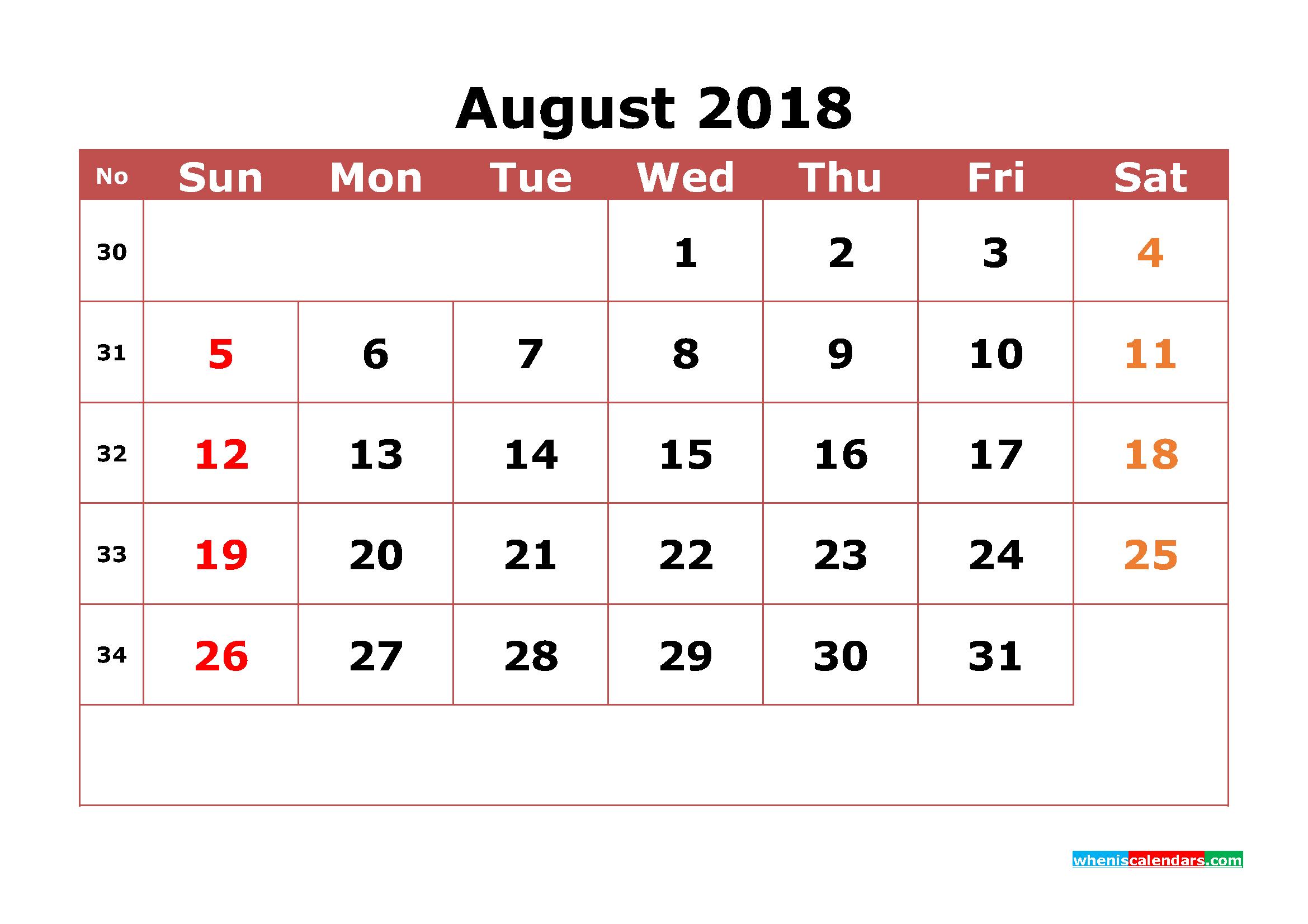 August 2018 Calendar Template Word