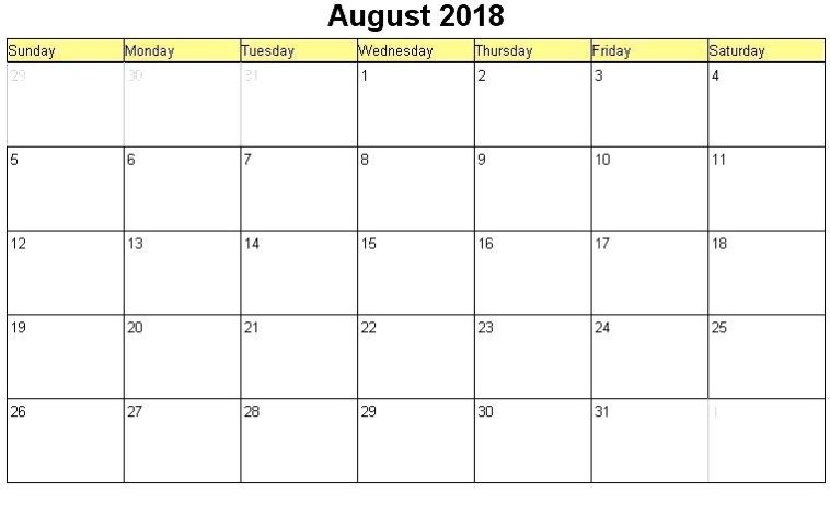 August 2018 Calendar Template Workout