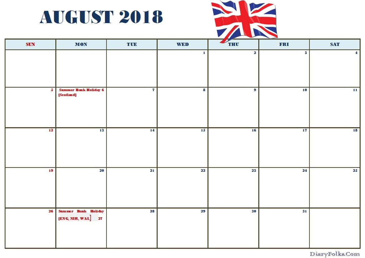 August 2018 Calendar UK Holidays