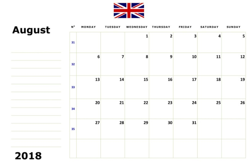 August 2018 Calendar UK With Flag