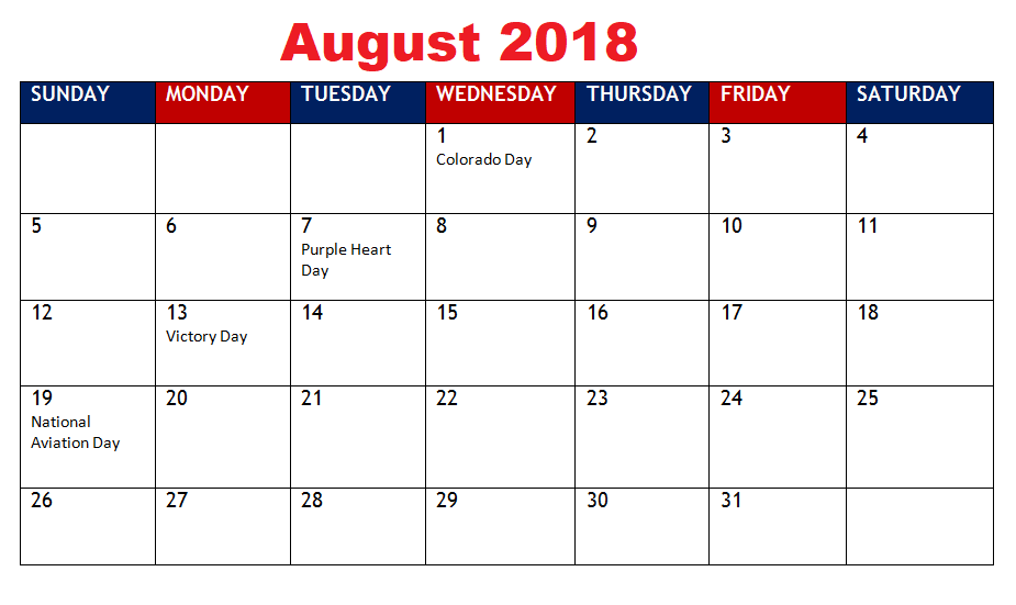 August 2018 Calendar With Holidays NZ