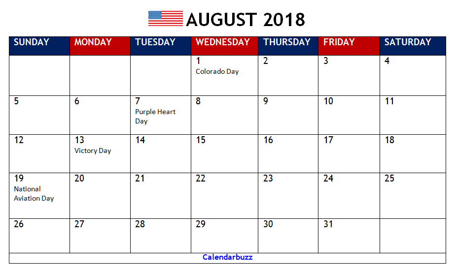 August 2018 Calendar With Holidays Philippines