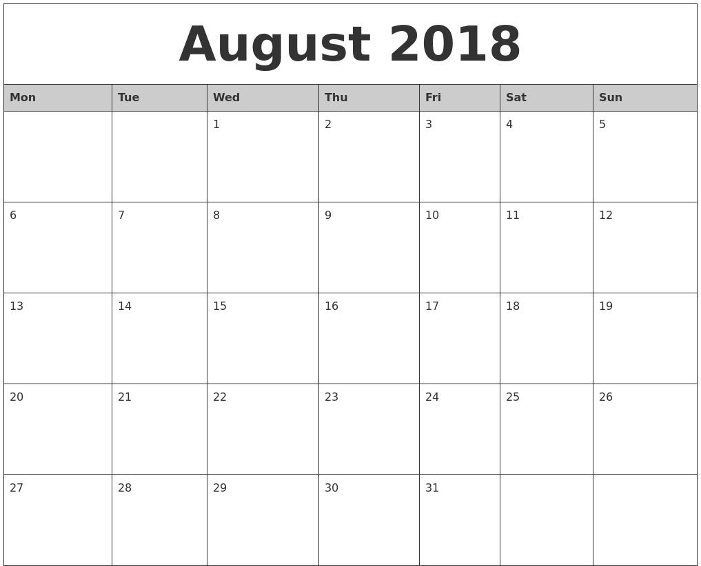 August 2018 Calendar Word Template