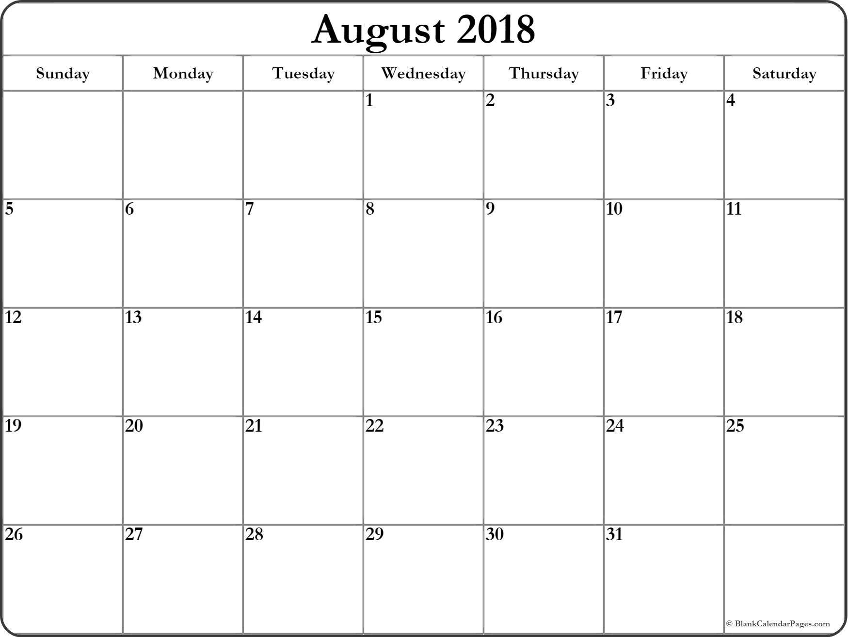 August 2018 Calendar Word