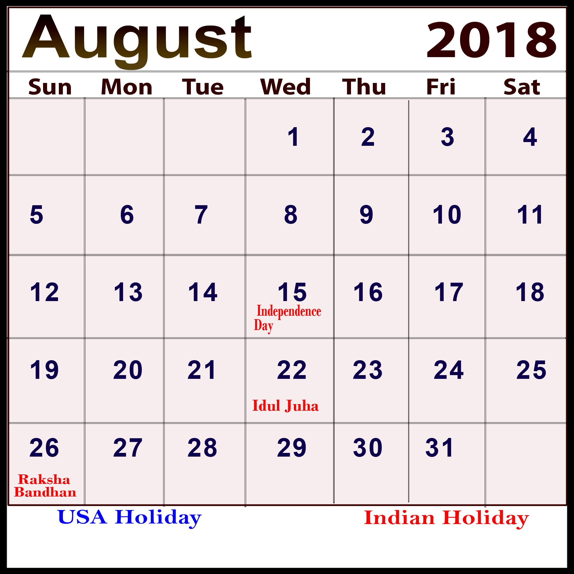 August 2018 Calendar with Holidays India