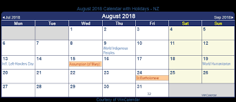 August 2018 Calendar with Holidays New Zealand