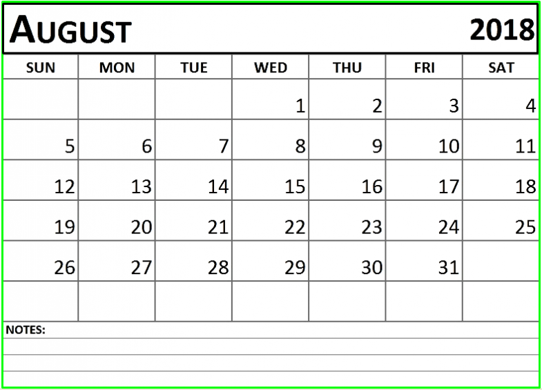 August 2018 Excel Calendar with Notes