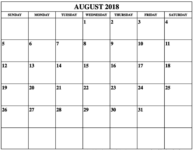 August 2018 Landscape Calendar