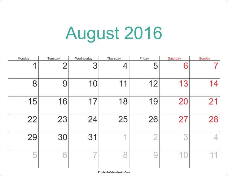 August 2018 Malaysia Calendar