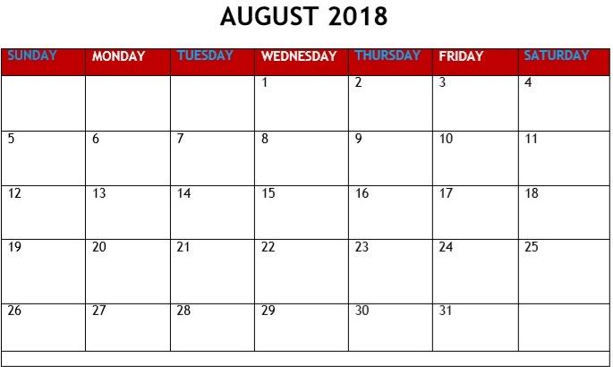 August 2018 Printable Calendar Excel