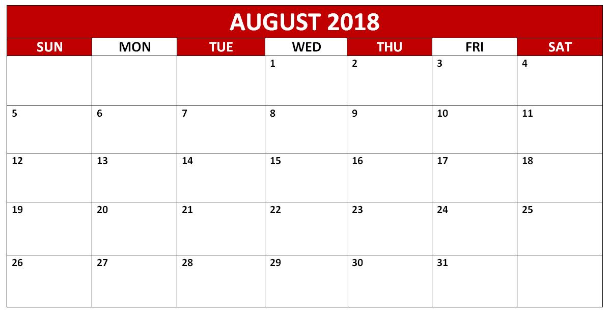 August 2018 Printable Calendar France