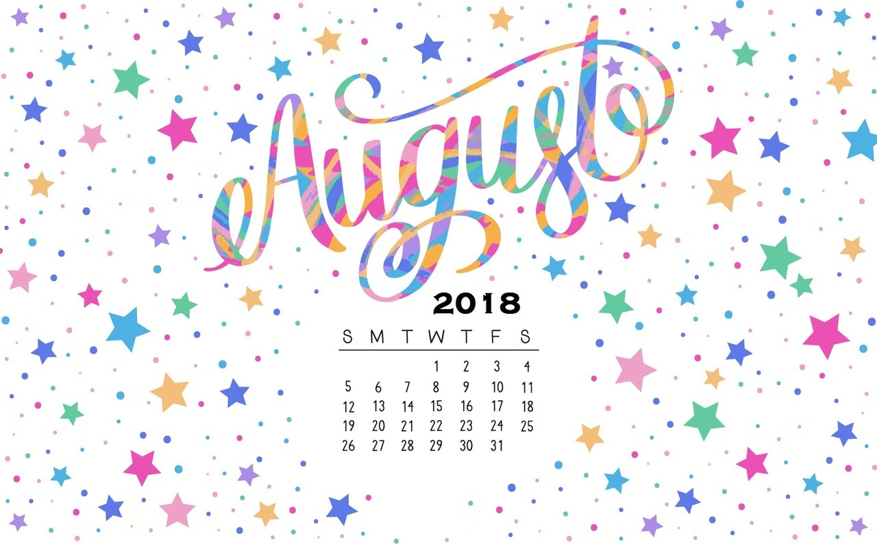 August 2018 Tumblr Calendar Wallpaper for Desktop