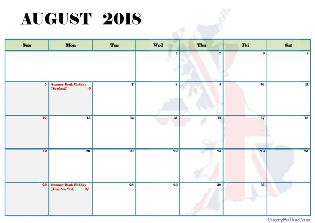 August 2018 UK Calendar with Holidays