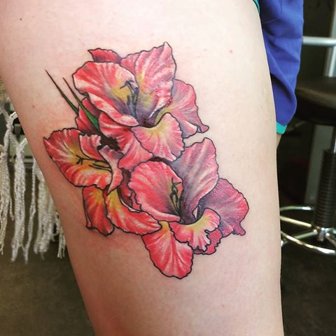 August Birth Flower Gladiolus Tattoo