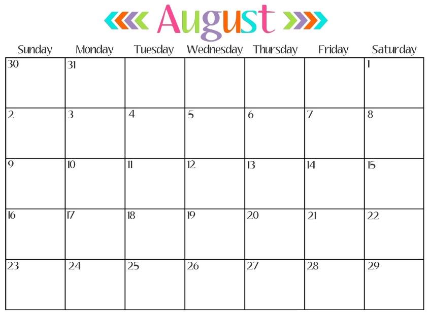 August Calendar 2018 Cute