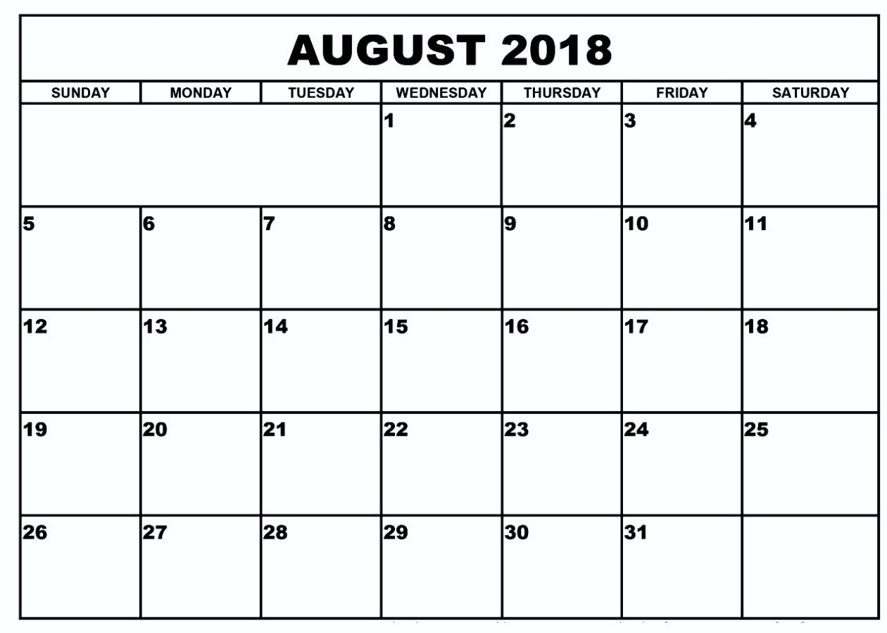 August Calendar 2018 Document