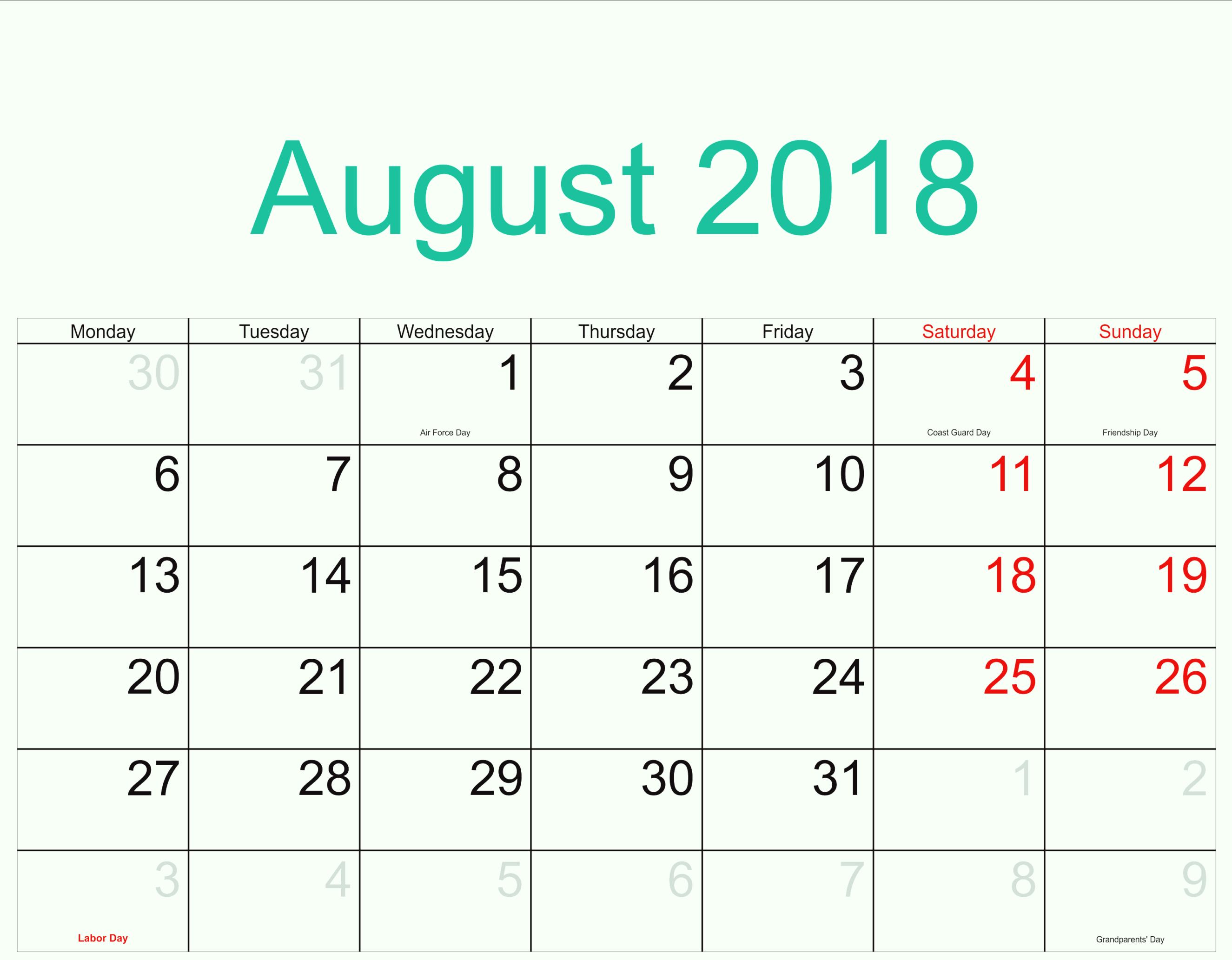 August Calendar 2018 Excel